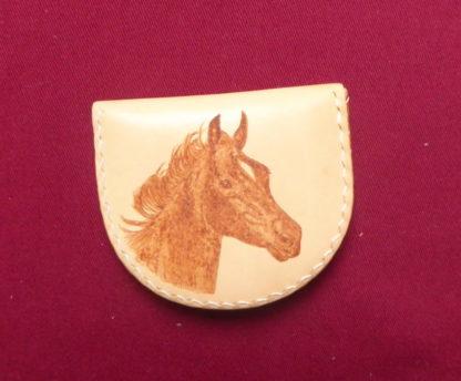 petit porte-monnaie en cuir tête cheval pyrogravé