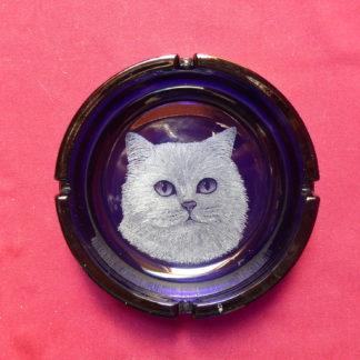 gros cendrier bleu têt chat