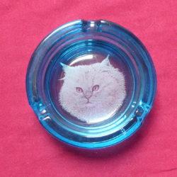 cendrier bleu tête chat