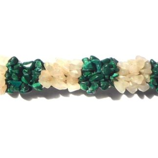 barrette malachite et quartz blanc