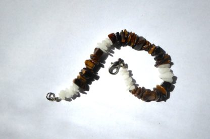 bracelet oeil de tigre et quartz blanc